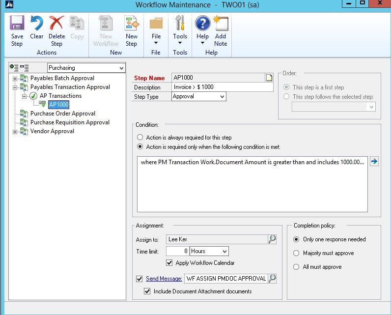 Workflows Use Workflows for Accounts Payable Approvals in Microsoft Dynamics GP