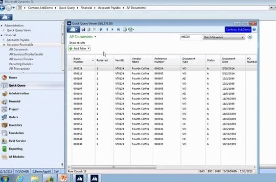 Using Quick Query for Accounts Receivable in Dynamics SL
